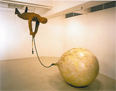 """Fukuoka is known for his """"Pink Balloons"""" series dealing with air (sigh), as a motif of sculpture, landscape sculpture, and flat works carved with thousands of words such as """"Nothing to Do"""" and """"Do We Really Not Need to Be Afraid?"""" For the Triennale, he will present his 1966 sculpture <i>Why did I ever fly?</i> as well as five two-dimensional pieces."""